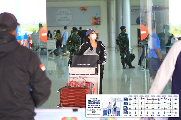Penumpang pesawat keluar dari pintu kedatangan Bandara Tjilik Riwut Palangka Raya