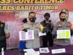 EKSPOSE : Kapolres Bartim AKBP Afandi Eka Putra dan jajaran saat press release kasus arisan fiktif, Jumat (30/4).FOTO:LOGMAN