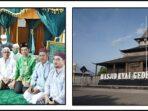 Ustaz Abdul Somad (duduk, pakai batik hijau) bersama warga saat berziarah ke makam Kiai Gede
