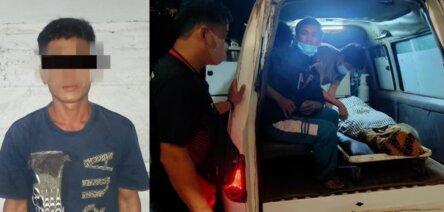 PERKELAHIAN: Jenazah Yupin Yason saat diangkut ambulans, dan tersangka Iwan saat diamankan di Polsek Kapuas Murung. FOTO:POLSEK KAPUAS MURUNG