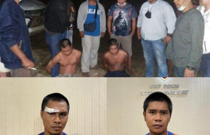 DITANGKAP : Dua tersangka pembunuh Hj Kamriah ditangkap polisi, Jumat (18/6).