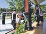 PERSIAPAN PTM: Tim verifi kasi DARI Satgas Pe nanganan Covid-19 Kabupaten Pulang Pisau melakukan verifi kasi di MTsN Pulang Pisau, kemarin (20/9).