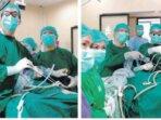 OPERASI: Tim BTKV RSDS yang terdiri dari sejumlah dokter berhasil melakukan tindakan menggunakan prosuder VATS pada pasien infeksi paru kronis.