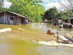 AKIBAT CURAH HUJAN: Seperti inilah kondisi banjir yang merendam ruas jalan antar desa di wilayah Kecamatan Pulau Malan, Selasa (5/10).